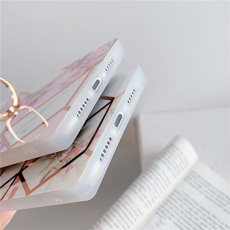 【No.55】 ステンドグラス柄 スクエア型 リング・スタンドホルダー付き  iPhoneケース 3種類