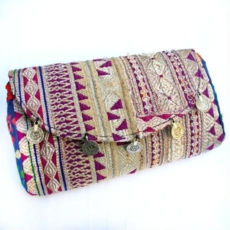 Banjara 2wayクラッチバッグ 1点物《bjc17》zariミラーワーク刺繍ヴィンテージテキスタイル