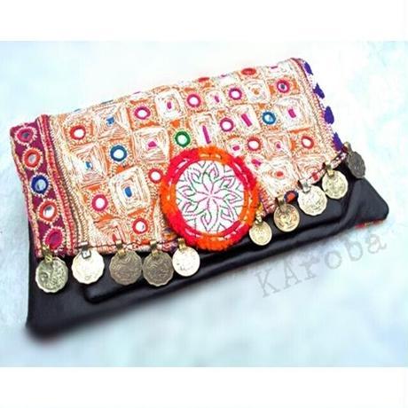 Banjara クラッチバッグ 1点物 刺繍&レザー《el1》送料無料