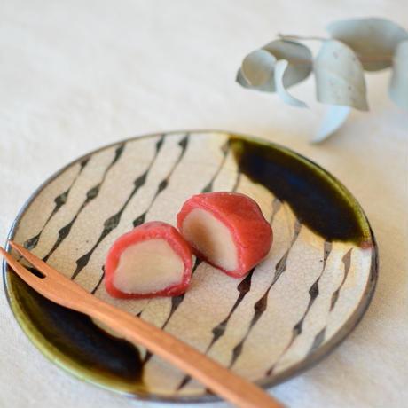 5寸皿/織部/涙トクサ
