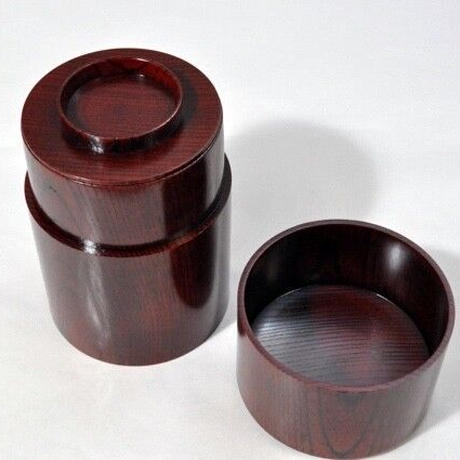SX-0641 欅 共木茶筒 赤摺 山中塗 嘉匠菴