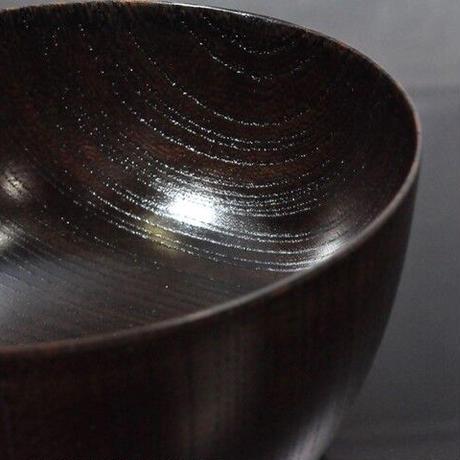 国産山中塗木製雑煮椀 欅4.3胴張椀 黒摺 SO-0502