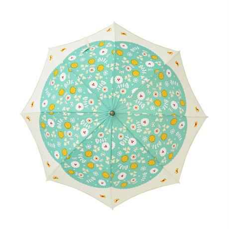 晴雨兼用パラソル(長傘) 花と蝶 グリーン