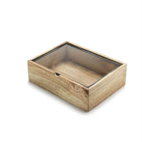 """""""Rectangle Wooden Box With Glass Lid / レクタングルウッデンボックスウィズグラスリッド(S)"""""""
