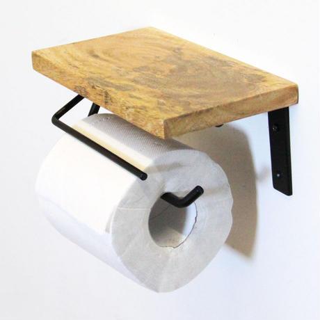 マンゴーウッド棚付トイレットペーパーホルダー(S)