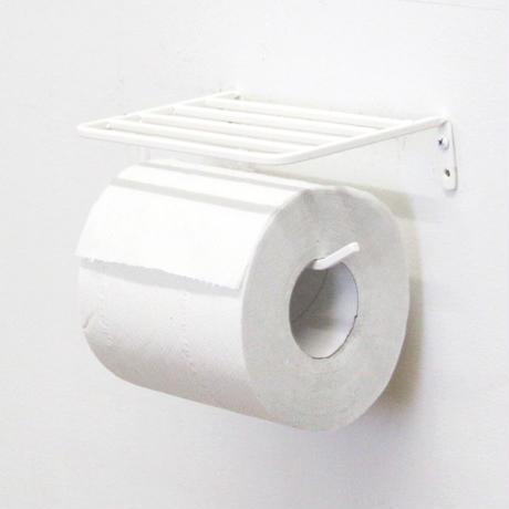 棚付きアイアントイレットペーパーホルダー(White)