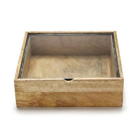 """""""Square Wooden Box With Glass Lid / スクエアウッデンボックスウィズグラスリッド(L)"""""""