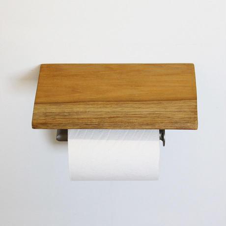 チーク棚板アイアントイレットペーパーホルダー(差込口 右)