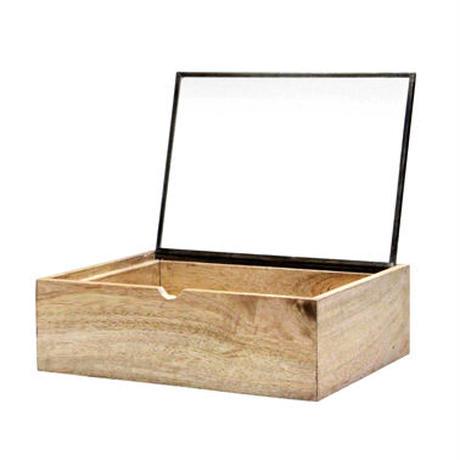 """""""Rectangle Wooden Box With Glass Lid / レクタングルウッデンボックスウィズグラスリッド(L)"""""""
