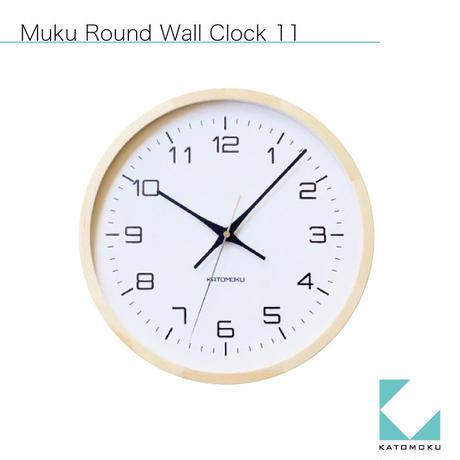 名入れ 木プレート KATOMOKU muku round  wall clock 11 km-94NRC ナチュラル 電波時計 連続秒針