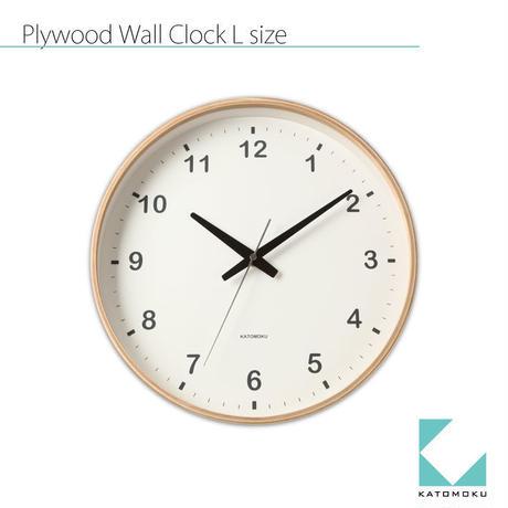 名入れ 木プレート KATOMOKU Plywood round wall clock L size km-33L 連続秒針