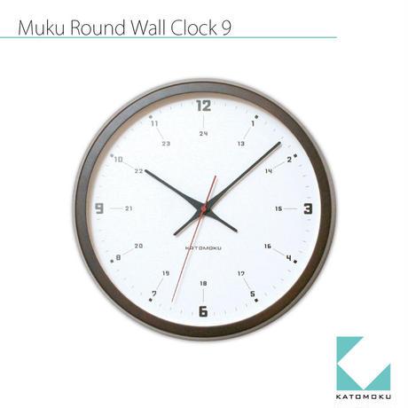 名入れ 木プレート KATOMOKU muku round wall clock 9 km-82BRC ブラウン  電波時計 連続秒針