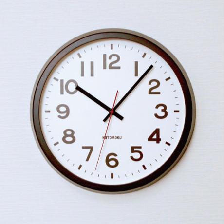 名入れ 木プレート KATOMOKU muku round  wall clock 10 km-86BRC ブラウン 電波時計 連続秒針
