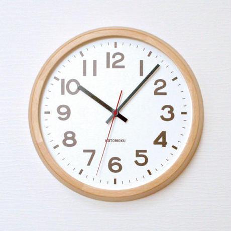 名入れ 木プレート KATOMOKU muku round  wall clock 10 km-86NRC ナチュラル 電波時計 連続秒針