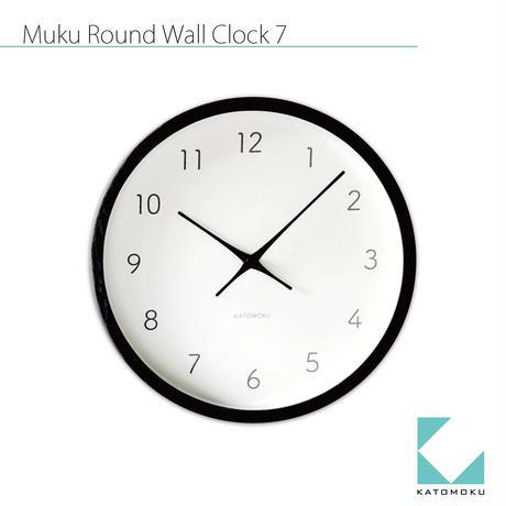 名入れ 木プレート KATOMOKU muku round wall clock 7 km-60BRC ブラック 電波時計 連続秒針
