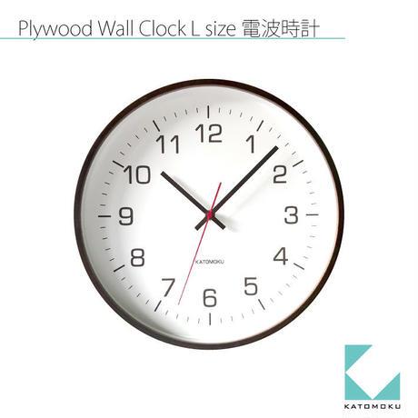 名入れ 木プレート KATOMOKU plywood wall clock 4 km-61BRC ブラウン 電波時計 連続秒針