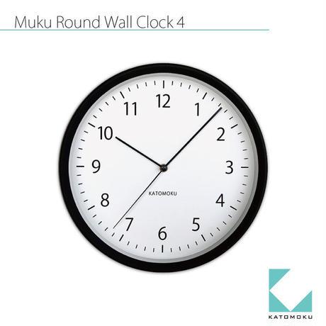 名入れ 木プレート KATOMOKU muku round wall clock 4 km-57BRC ブラック 電波時計 連続秒針