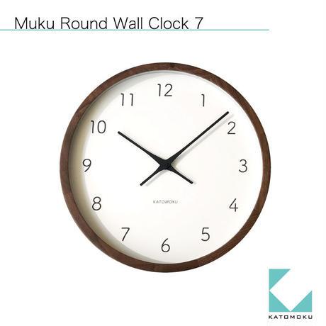 名入れ 木プレート KATOMOKU muku round wall clock 7  Walnut km-93RC  電波時計 連続秒針