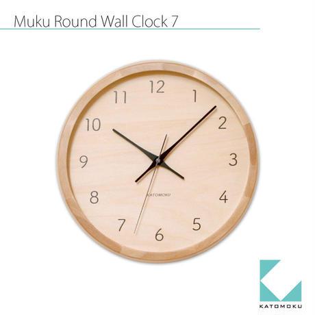 名入れ 木プレート KATOMOKU muku round wall clock 7 km-83NRC ナチュラル 電波時計 連続秒針