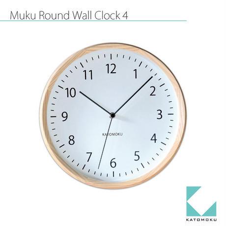 名入れ 木プレート KATOMOKU muku round wall clock 4 km-57NRC ナチュラル 電波時計 連続秒針