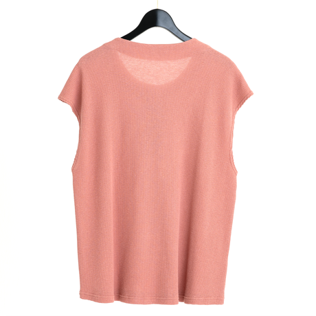 FRENCH SLEEVE HENLEY NECK TEE(PINK)