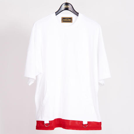 LAYERED POCKET TEE SHIRTS(WHITE)