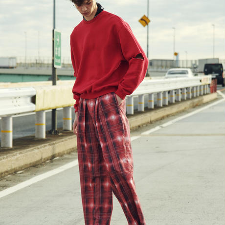 CHECK  CENTER PRESS TUCK PANTS(RED)