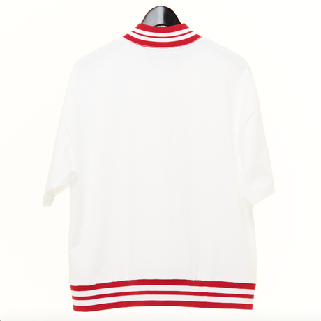 MOCK NECK HALF ZIP TEE(WHITE)