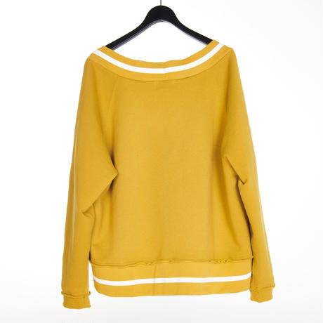 CUT OFF V NECK SWEAT(MUSTARD)