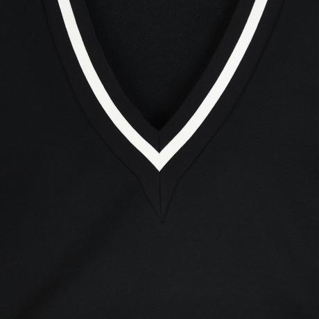 CUT OFF V NECK SWEAT(BLACK)