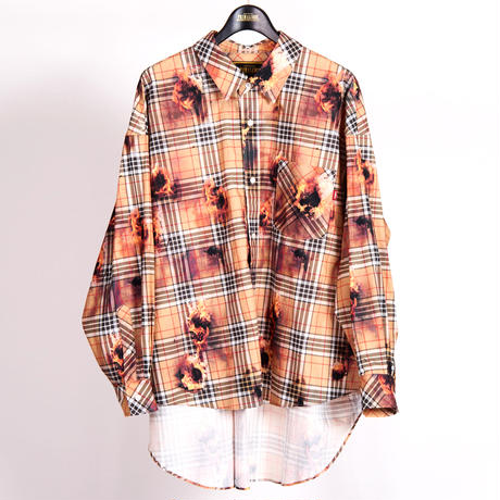 BIG FIT FIRE  CHECK SHIRT(BEIGE)