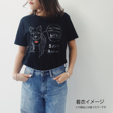 T-shirt/宮古島SAVE THE ANIMALS チャリティGoods  Cat/Black&White