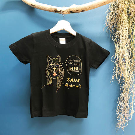 T-shirt/宮古島SAVE THE ANIMALS チャリティGoods  Dog/Black&Gold