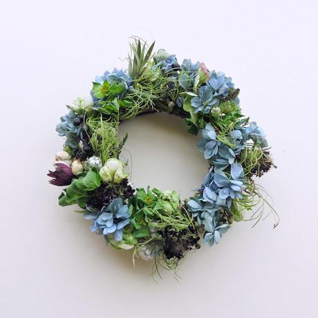 【販売終了】Hana Tutumi Gift 季節のかわきばな®リース(ブルー・Sサイズ)