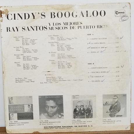 LP-0001     CINDYS BOOGALOO /RAY SANTOS Y LOS MEJORES MUSICOS DE PUERTO RICO   #BOOGALOO/中古レコードLP