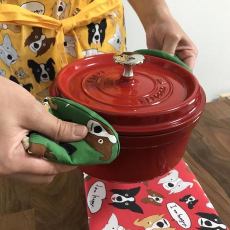 【即納】三角鍋つかみ(2個セット) オリジナルボーダーコリー柄