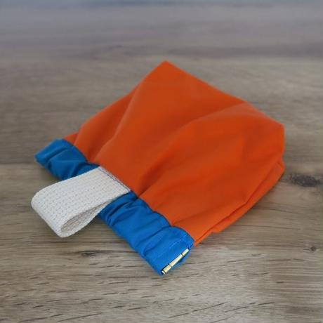 防水トリーツポーチ(オレンジ×ターコイズグリーン)