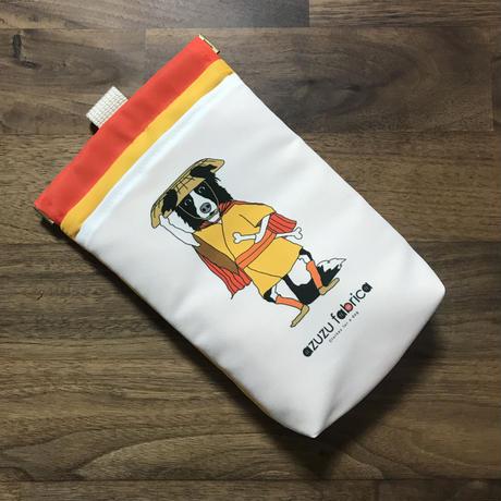 ❝股旅ボーダー❞撥水消臭マナーポーチ (シロクロ)オレンジ