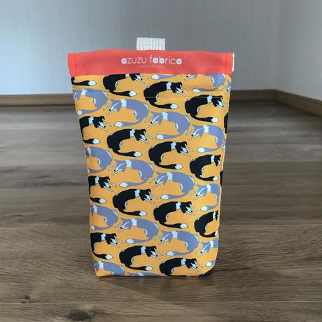 ❝くるくるボーダー❞撥水消臭マナーポーチ (シロクロ&ブルー)(黄)