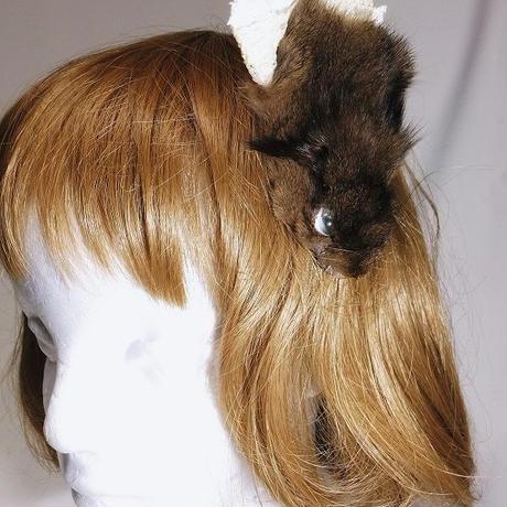 リスの髪飾り(焦げ茶)