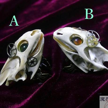 スッポン頭骨と歯車の指輪