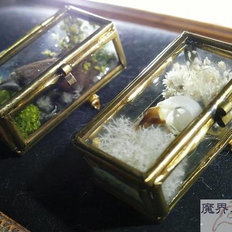 硝子小箱の剥製ブローチ(小)