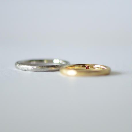 手作り結婚指輪シンプル/お客様オーダー例/K18YG/7.5号/チタン/14.5号*お問合せください*