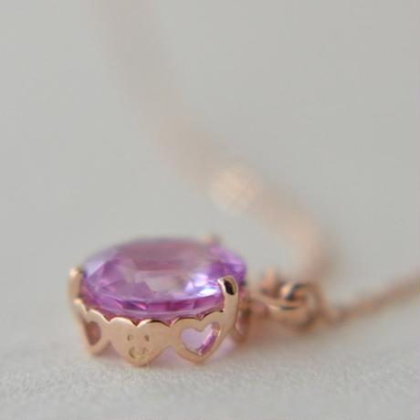 Pink Sapphire Necklace  (SAR-003K18PG)