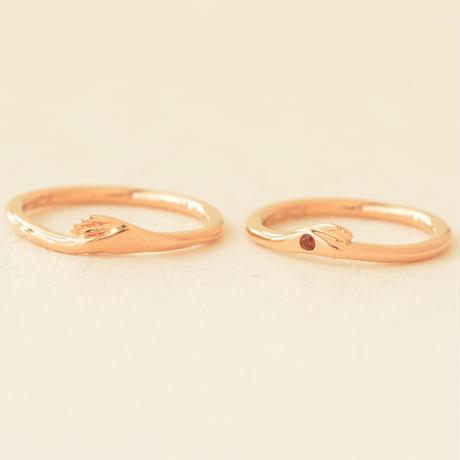 似顔絵結婚指輪/お客様オーダー例/K18PG/13号/9号/ガーネット*お問合せください*