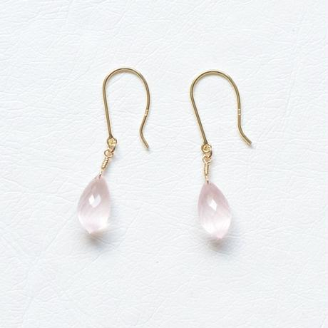Rose Quartz Pierce (SNP-127RQ-F K18YG)