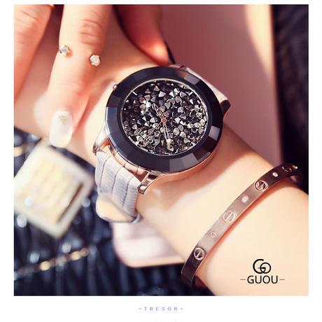 GUOU 腕時計 レディース ラグジュアリー ラインストーン