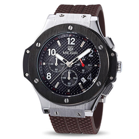 MEGIR メンズ腕時計 ウブロ風 ビッグバンタイプセラミック調ベゼル ラバーバンド クォーツ クロノグラフZG1H