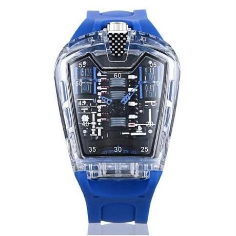 KIMSDUN メンズ クォーツ腕時計 シリコンストラップ K-725-3 ブルー