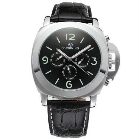 Forsining 機械式腕時計 ビッグケース レザーバンド メンズ